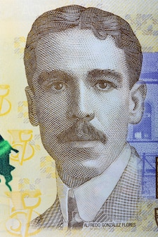 Alfredo gonzalez flores portrait from costa rican banknote