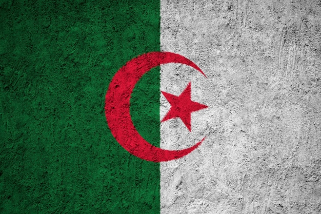 Algeria flag painted on grunge wall