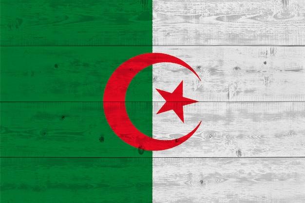 Algeria flag painted on old wood plank