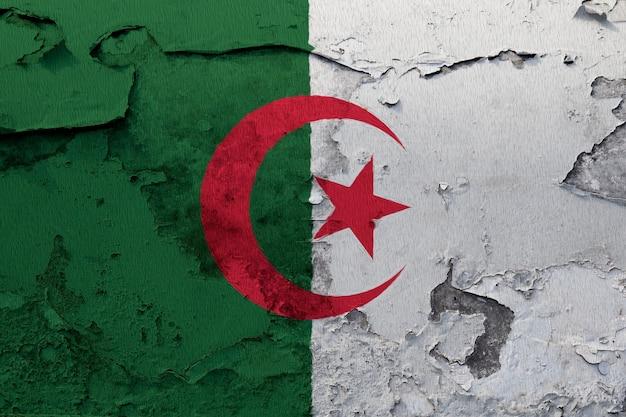 アルジェリアの旗が割れた壁に塗られた