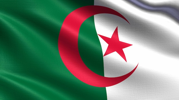 Algeria flag, with waving fabric texture