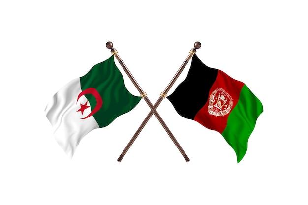 アルジェリア対アフガニスタンの2つの旗