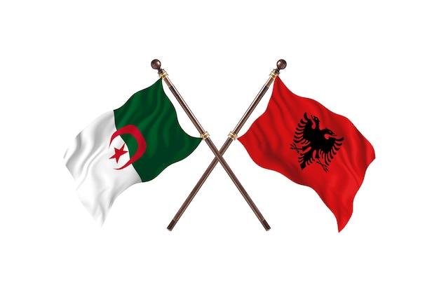 アルジェリア対アルバニア2つの旗