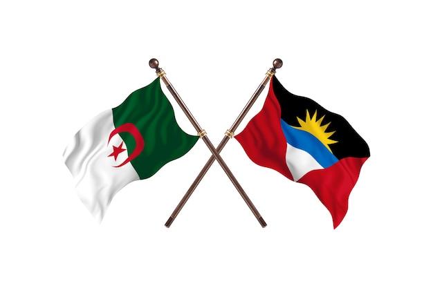アルジェリア対アンティグアバーブーダの2つの旗