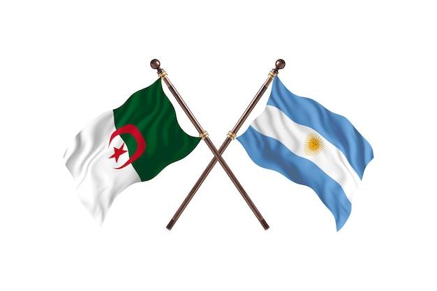 アルジェリア対アルゼンチン2つの旗
