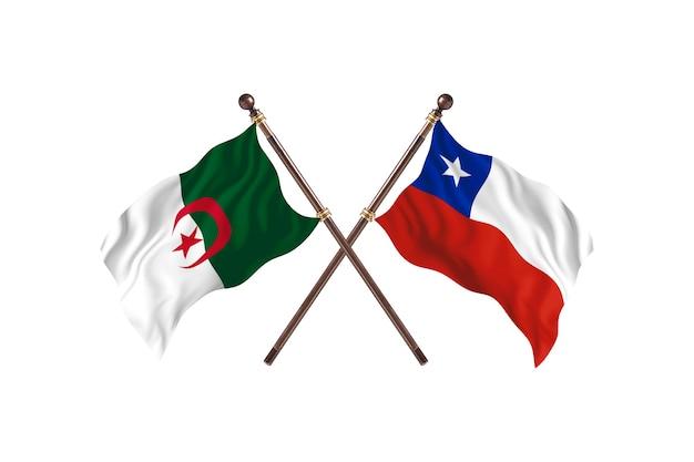 アルジェリア対チリの2つの旗