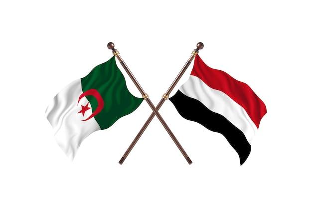 アルジェリア対イエメンの2つの旗