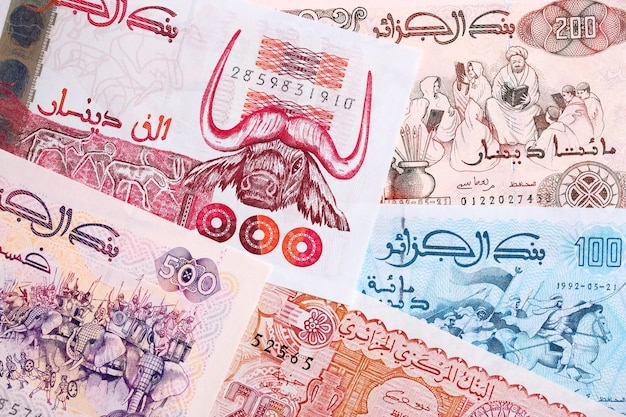 Algerian dinar, a background with money from algeria