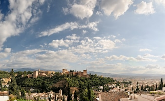 Alhambra and granada with blue sky