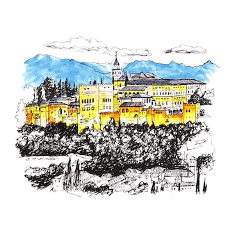 Alhambra fortress in granada, andalusia, spain