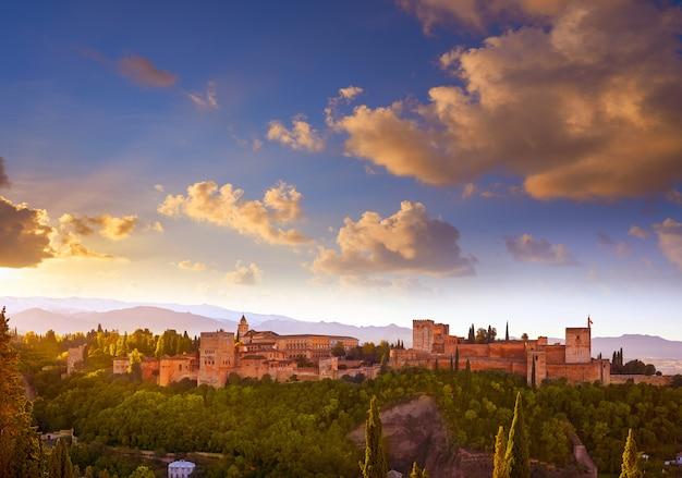 Alhambra sunrise light in granada of spain
