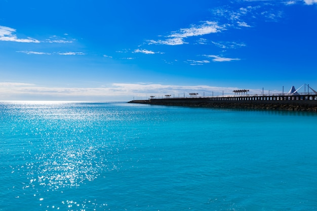 Alicante modern breakwater in mediterranean spain