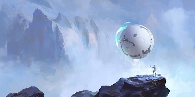 외계인과 그의 둥근 공예, 공상 과학 일러스트레이션, 디지털 페인팅.