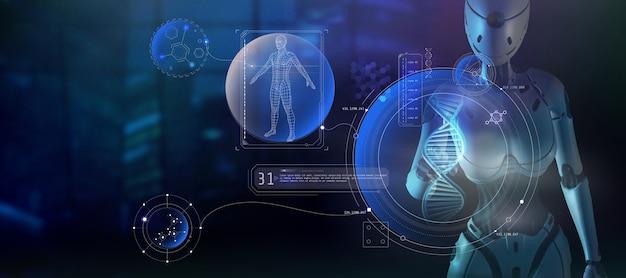 Инопланетный искусственный интеллект изучает человеческую структуру 3d рендера