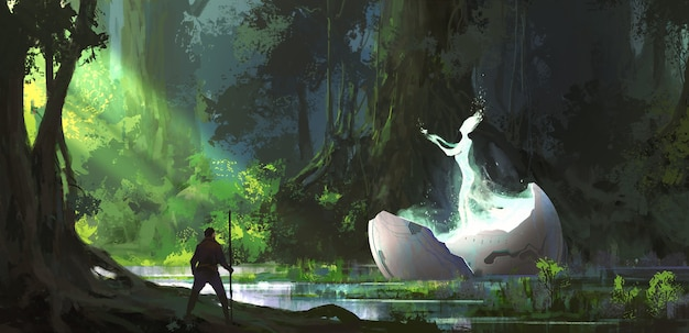 Alien in the forest illustration.