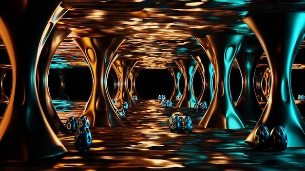 외계인 둥지. 신비한 외계인 알이있는 어둡고 이상한 젖은 동굴 내부. 3d 렌더링