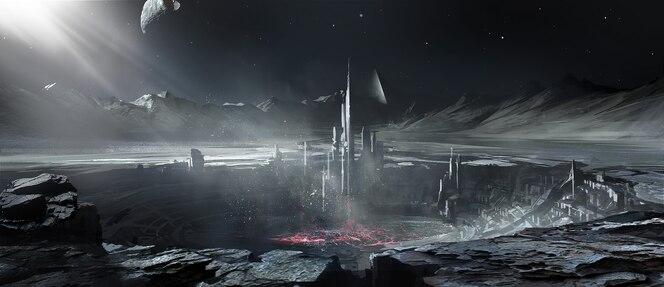 Alien planet building.