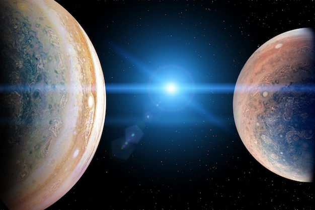 Alien planets in the outer space with blue sunrise