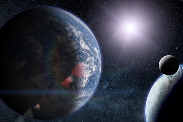 Инопланетные планеты с землей в космическом пространстве