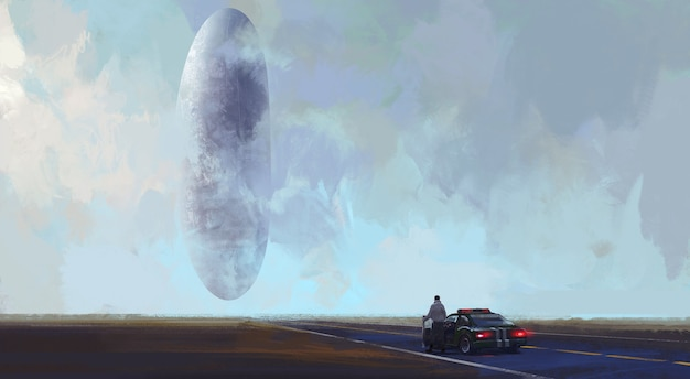 Alien spacecraft landing in the wilderness, digital illustration.