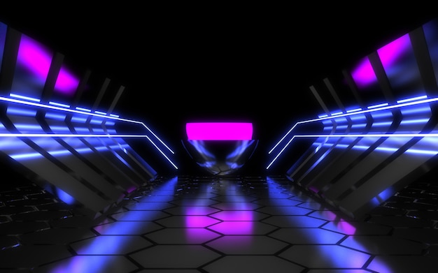 Alien spaceship corridor abstract background. 3d illustration