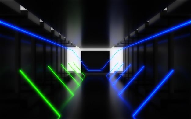 エイリアン宇宙船回廊の抽象的な背景。 3dイラスト