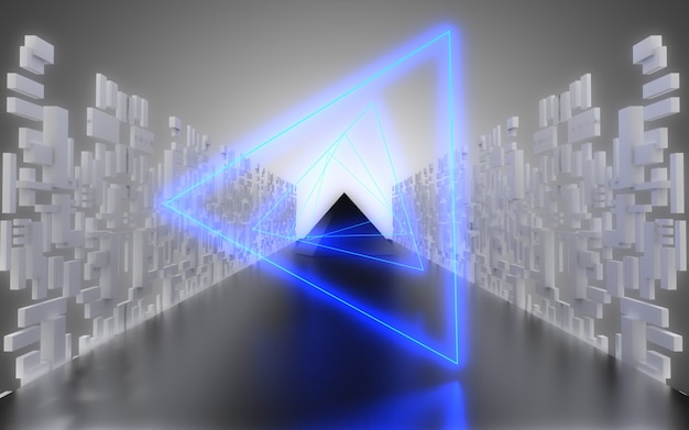 Alien spaceship corridor abstract background. 3d illustrationa