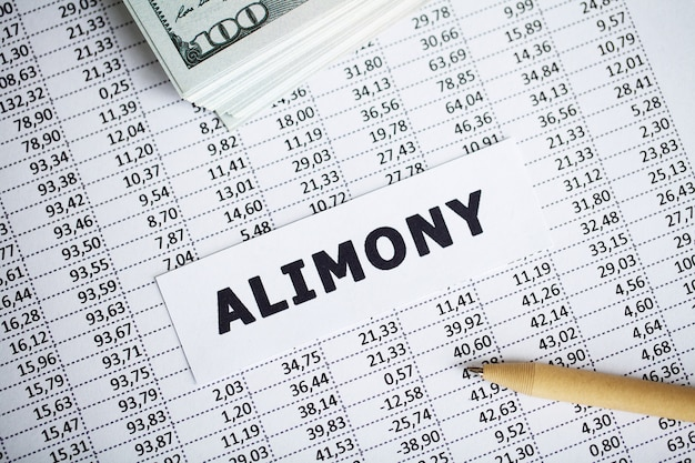 Alimony written on white card