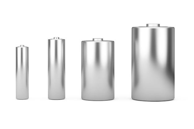 흰색 배경에 디자인을 위한 다른 aaa, aa, c, d 크기 및 여유 공간이 있는 알카라인 배터리 아이콘 세트. 3d 렌더링