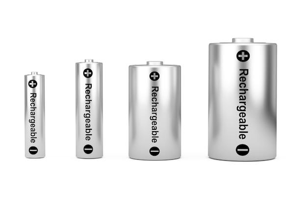 흰색 배경에 다른 aaa, aa, c, d 크기 및 충전식 기호가 있는 알카라인 배터리 아이콘 세트. 3d 렌더링