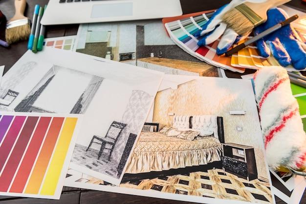 Все для домашнего творческого рабочего дня образец цвета и кисть для рисования эскиза для ноутбука