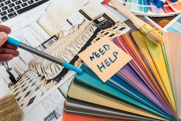 All for house creative workday color swatch and notebook house sketch paint brush