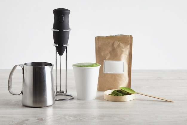 All necessary to prepare latte in modern way sale presentation electric milk frother chrome stand organic premium matcha powder japan take away paper glass
