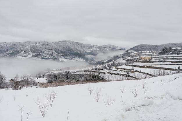 イタリア北部の雪と霧に覆われた真っ白な風景。