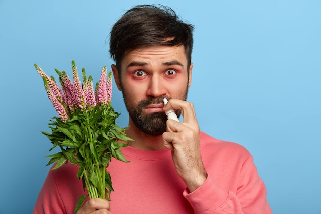 Allergy symptoms and treatment concept. sick man has red eyes, constrant sneezing and runny nose, uses nasal drops, holds plant on which has hay fever, cures seasonal disease, wears pink jumper