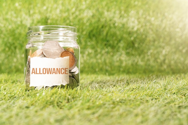 Allowance money, coins in glass jar for money saving