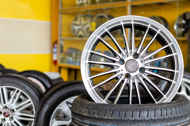 Alloy car wheels and pneumatic tires in store