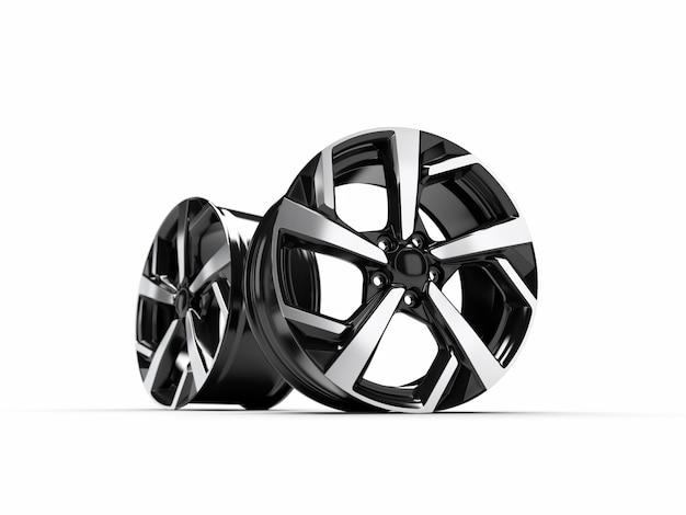 Alloy wheel for a car. 3d rendering illustration.