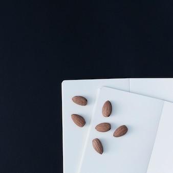 Almond on blank paper