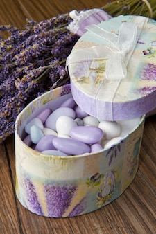 Almond confetti with lavender flower