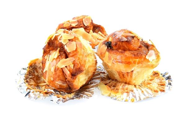Almond cupcakes isolate on white