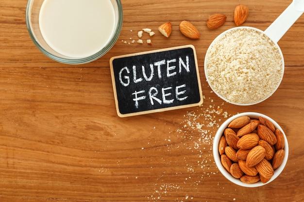 Almond flour and almond milk with gluten free word