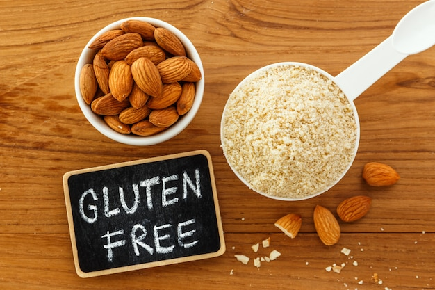Almond flour and almonds with gluten free word