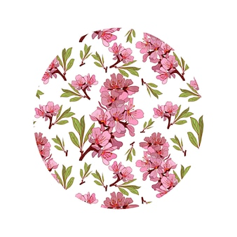 아몬드 꽃 색상 손으로 그린 그림. 배경 스케치 핑크 색상.
