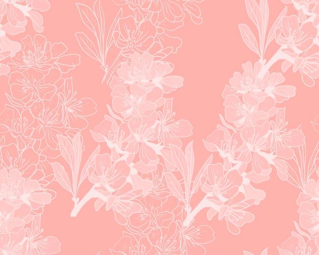 アーモンドの花の手描きパターン