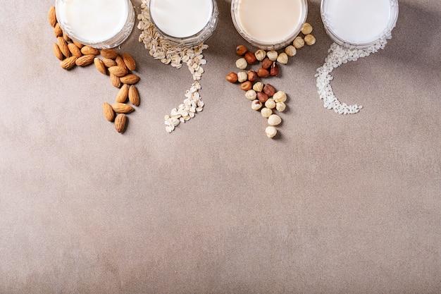 Almond, hazelnut, oat and rice milk