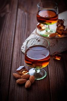 Almond liquor amaretto and almonds