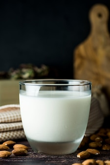 Almond milk - alternative to clasic milk. a glass with almond milk and almond nuts. dark food photo with copyspace. healthy, vegan milk.