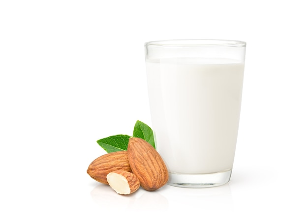 Almond milk with almond nuts isolated on white background.