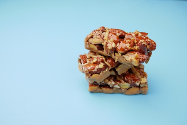Almond and oat protein bars on table
